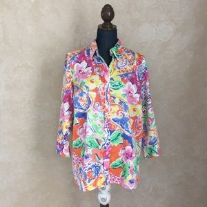 Ralph Lauren women's floral button down blouse